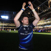 Jamie Heaslip acknowledges the support of the Leinster crowd as Joe Schmidt's men celebrate their derby win