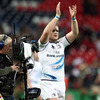 Leinster's stand-in captain Jamie Heaslip salutes the province's fans after a famous win at Wembley Stadium