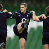 Jamie Heaslip, who win his 28th Ireland cap last weekend, is pictured warming up at the Aviva Stadium