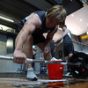 Jerry Flannery prepares to lift a barbell during the players' weights session at the Alpine health and fitness centre in Queenstown