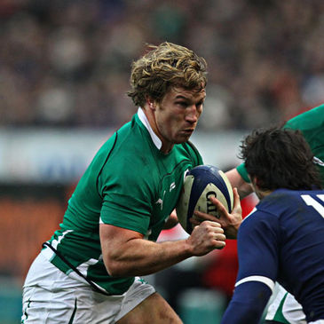 Jerry Flannery takes the ball on against France