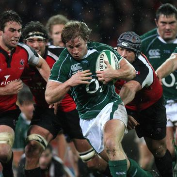 Jerry Flannery on the charge for Ireland against Canada
