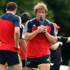Jerry Flannery takes on some refreshment as he continues his recovery from the elbow injury which ruled him out of the Lions tour