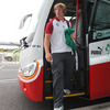 Jerry Flannery, one of three hookers in Ireland's New Zealand-bound squad, is pictured stepping off the bus at Dublin Airport