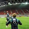 Jerry Flannery throws a ball in at a lineout for his Munster and Ireland team-mate Paul O'Connell