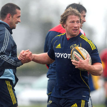 Jerry Flannery training with the Munster squad today