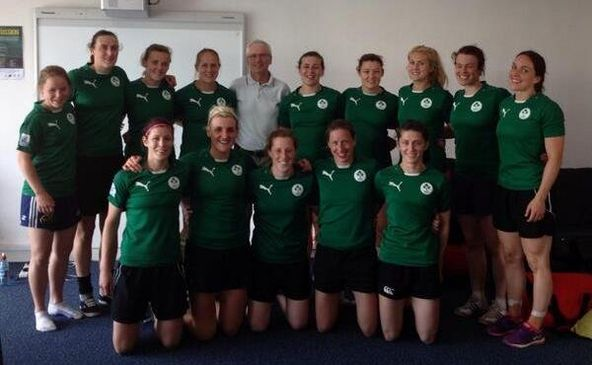 The Ireland Women's players with John Treacy