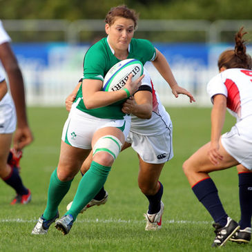 Ireland centre Jo O'Sullivan in action against the USA