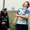 Joe Schmidt and Brian O'Driscoll are pictured during a lighter moment in Monday's squad session at UCD