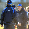 Joe Schmidt talks tactics with out-half Jonathan Sexton, who was instrumental in Leinster's round 2 win over Saracens
