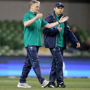 Joe Schmidt and Les Kiss before the recent Ireland v Samoa game
