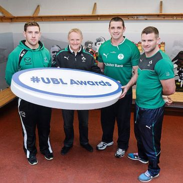 Joe Schmidt with Craig Ronaldson, Alan Quinlan and Fergus McFadden