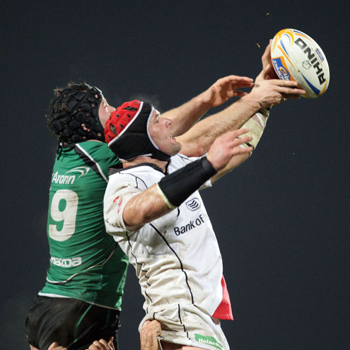 Connacht's David Gannon in action against Ulster captain Johann Muller
