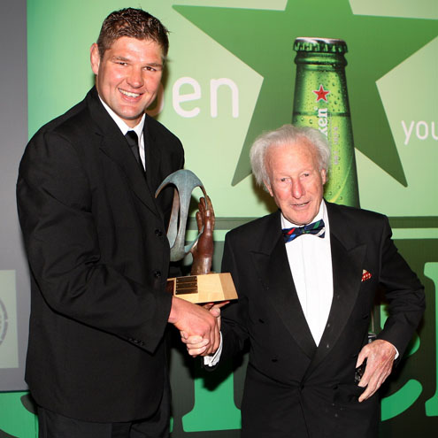 Ulster captain Johann Muller with Irish rugby legend Dr. Jack Kyle