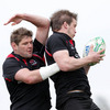 Forward duo Johann Muller and Thomas Anderson compete for a lineout ball during Tuesday's squad session at Newforge
