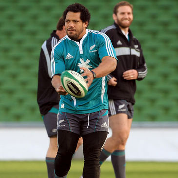 Prop John Afoa is pictured training with the New Zealand squad