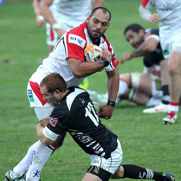 Ulster prop John Afoa in action against Zebre
