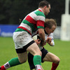 Bective back rower John Byrne challenges Malone's John Creighton during the Division 2A encounter at Gibson Park