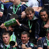 Very few of the Leinster players were left dry after the big bottles of Heineken were emptied out
