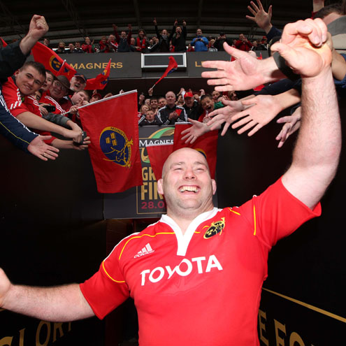 John Hayes is pictured celebrating Munster's league title success