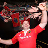 The 'Bull' is cheered by the Munster fans as he heads up the tunnel at Thomond Park