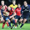 Munster prop John Hayes rampages forward, under pressure from Leinster's Chris Whitaker