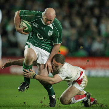Ireland prop John Hayes is tackled by England's Joe Worsley