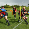 Experienced prop John Hayes, who turns 37 in November, rounds a pole as a part of a training exercise at UL