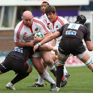 John Hayes in action against Sale Sharks