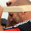 Veteran prop John Hayes, who came on as a second half replacement against Toulon, applies some bandages to his head