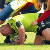 Veteran prop John Hayes sets up ruck ball during the province's training stint at Thomond Park on Tuesday