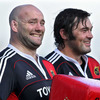 Props John Hayes and Tony Buckley have a laugh together as they take a breather from training
