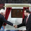 IRFU President John Lyons and Taoiseach Brian Cowen shake hands after officially opening the redeveloped Thomond Park