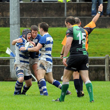 John McGuckin celebrates after scoring his try