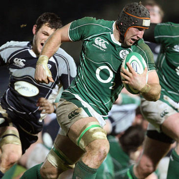 John Muldoon in action for Ireland 'A' against Scotland 'A' in February