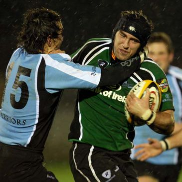 Connacht back rower John Muldoon is tackled by Glasgow's Bernardo Stortoni