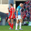 A smiling Johne Murphy commiserates with Toulon out-half Felipe Contepomi after he was sin-binned in the 57th minute