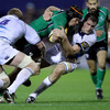 Connacht flanker Johnny O'Connor is wrapped up by Leinster's Leo Cullen, a second half replacement, and Devin Toner