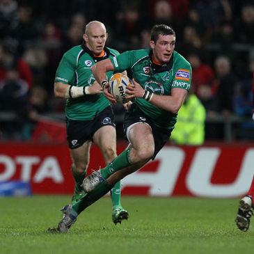 Connacht's David McSharry is supported by Johnny O'Connor