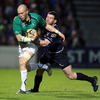 Connacht's experienced flanker Johnny O'Connor is pictured leading an attack, with Leinster's Fergus McFadden on defensive duty