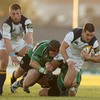 Connacht flanker Johnny O'Connor, who put in an all-action display, is pictured tackling Leinster's Jonathan Sexton