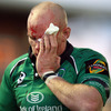 Connacht flanker Johnny O'Connor was forced off with a facial injury, before returning bandaged up and with a scrum cap on