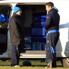 Flanker Sean O'Brien, who sat out training, is pictured chatting with Leinster's kit man Johnny O'Hagan