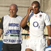 England centre Jonathan Joseph had to have a blood injury treated during an attritional second half