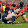 Doug Howlett infringed as he tackled Jonathan Sexton before the Leinster out-half had a chance to get back on his feet