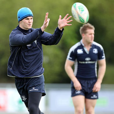 Jonathan Sexton and Luke Fitzgerald training with the Leinster squad
