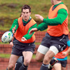Jonathan Sexton, who is Ireland's reserve out-half for Saturday's clash with Wales, is pictured throwing a pass during the session at Rugby League Park