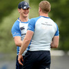 Jonathan Sexton and Jamie Heaslip, two key men in the Leinster side, share a joke as the players ease into one of the most important weeks of their season