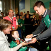Matthew McGrath and his mum get an autograph from Jonathan Sexton, who flew into Dublin along with a number of the squad's Leinster-based players