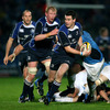Replacement Jonathan Sexton has support from Leo Cullen, Leinster's captain, as he piles forward off the side of a ruck